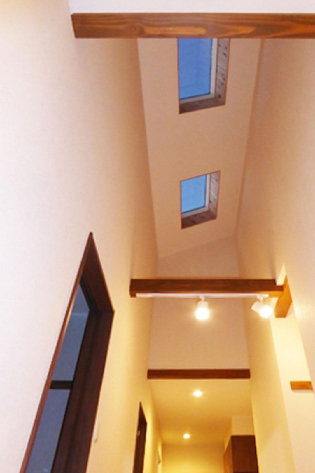 天窓から柔らかな光が差し込む平屋の家
